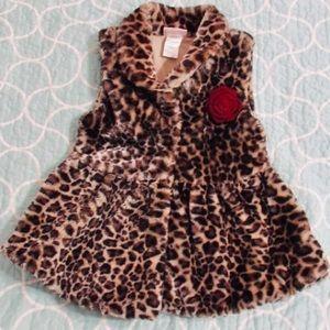 Little Lass Faux Leopard Fur Vest